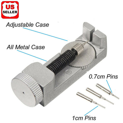 Metal Adjustable Watch Band Strap Bracelet Link Pin Remover Repair Tool Kit Set2 Jewelry & Watches