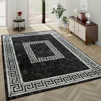Black and Grey Rug Marble Versace Style Shimmer Pattern Runner Mat Small Large