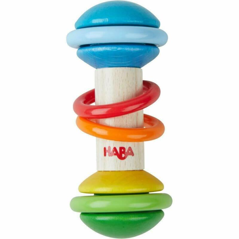 HABA Rainmaker Rattle Stick Wooden Clutching Toy with Plastic Rings