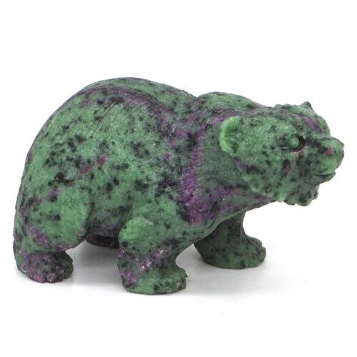 "3"" Bear Natural Gemstone Ruby Zoisite Crystal Hand Carved Animal Figurine Decor"
