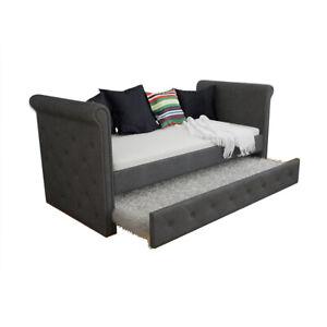 Gaiana 3 Seater Single Sofa Daybed w/ Trundle - Dark Grey