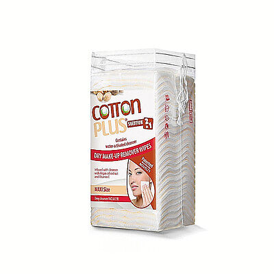 Plus Solution (COTTON PLUS SOLUTION 2 IN 1 MINI 60 ARGAN:MAKE-UP REMOVER (WIDE PADS - 50 COUNT))