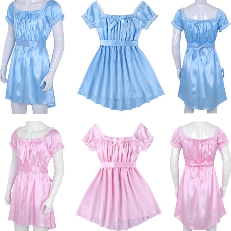 21566947b6d14 Details about Mens Satin Frilly Crossdressing Dress Lingerie Sissy Ruffles  Nightwear Underwear