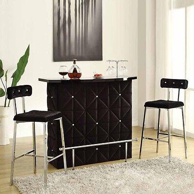 Doreen Black Velvet Upholstery Bar Server Table ONLY Bottle Rack Chrome Footrail
