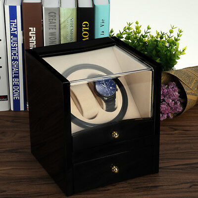 Automatic 2+2 Dual Double Watch Winder Wood Display Box Case Storage Xmas Gift