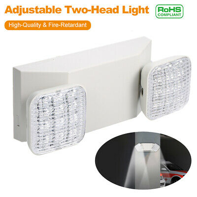 Led Emergency Exit Light 2head Battery Back-up Garage Office Security Light G6w7