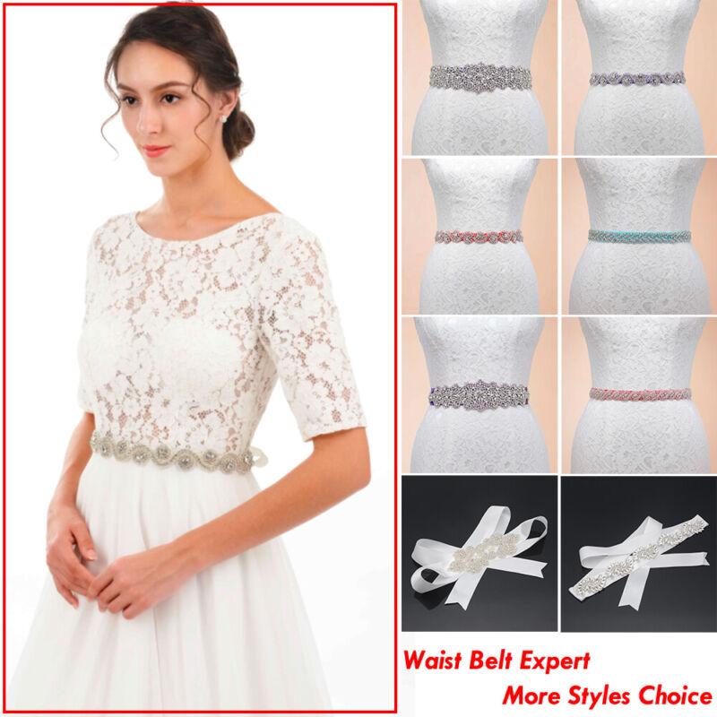 Handmade Bridal Sash Ribbon Belts Rhinestone Crystal Wedding Dress Waist Belts