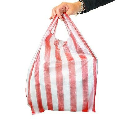 100 x LARGE RED/WHITE CANDY STRIPE Plastic Vest Carrier Bags 11