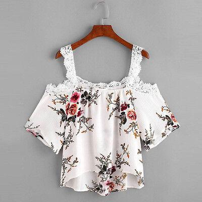Women Short Sleeve Floral T Shirt Off Shoulder Lace Blouse Casual Beach Tops