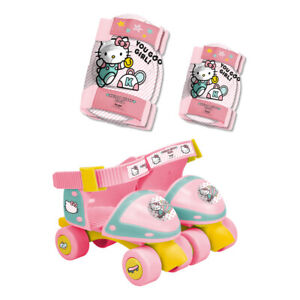 HELLO KITTY Club Children's Adjustable Quad Roller Skates with Elbow and Knee
