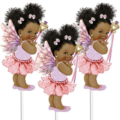3 Fairy Centerpieces for Table, African American  Fairy Birthday Table Decor
