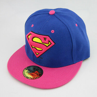 New Blue Pink Superman hiphop Snapback Adjustable baseball cap flat hat - Pink Superman Costume