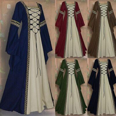 Mittelalterliche Renaissance Frauen Spitze Langarm Kleid Kleid - Mittelalterliche Kostüm Frauen