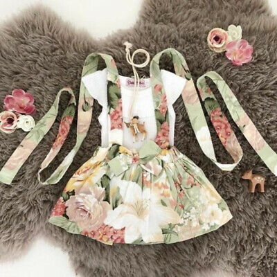 US Summer Toddler Baby Girl Tops T-Shirt Bib Strap Skirt 2Pcs Outfit Clothes Set
