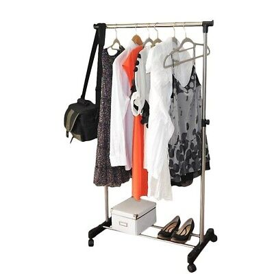 Rolling Clothes Rack Single Hanging Garment Bar Heavy Duty Hanger Adjustable