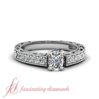 Archaic Style Channel Set Engagement Ring 1.2 Ct Cushion Cut Diamond H-Color GIA