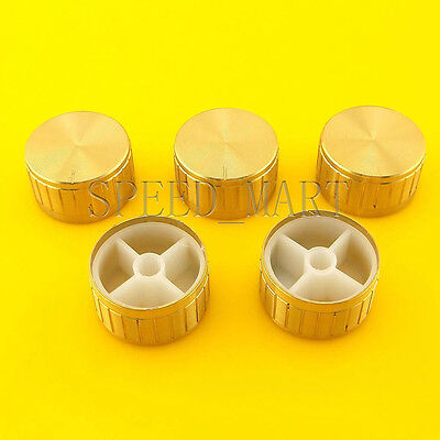 5 Pcs Gold Knob 3017mm Cap Rotary Switch Cd Player Volume Pointer Hole 6mm