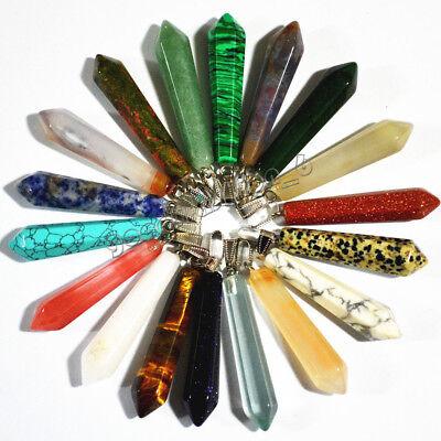 Fashion 20pcs/lot Assorted Natural stone Pendulum pillar Pendants gift - Bulk Gifts