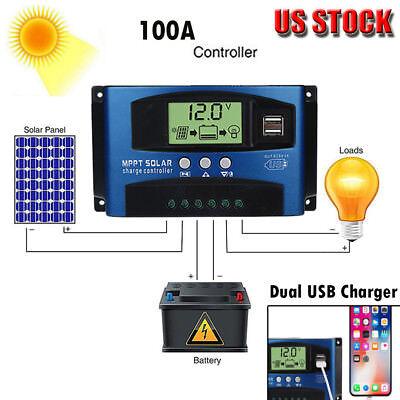 100A MPPT Solar Panel Regulator Charge Controller 12V/24V Focus Tracking US