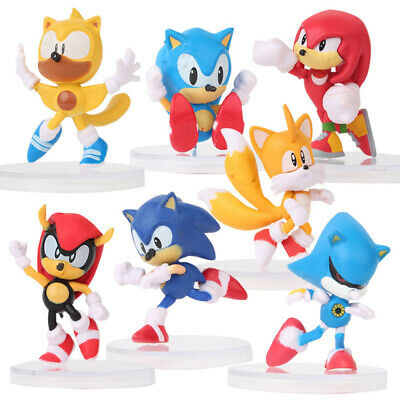 6 PCS Sonic Knuckles Tails The Hedgehog Action Figure Cake Topper Kids Gift Toys