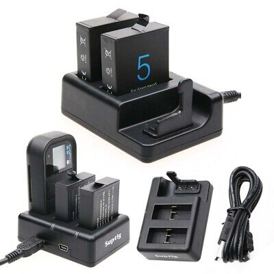 GoPro HERO7 6 5 AHDBT-501 Battery Dual Charger& Remote Control Cable Charger USB