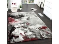 Living Room Rug Carpet Grey Red Modern Novelty Abstract Design Small Large Rugs