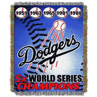Mlb Woven Tapestry Throw - Los Angeles Dodgers MLB World Series Woven Tapestry Throw 48