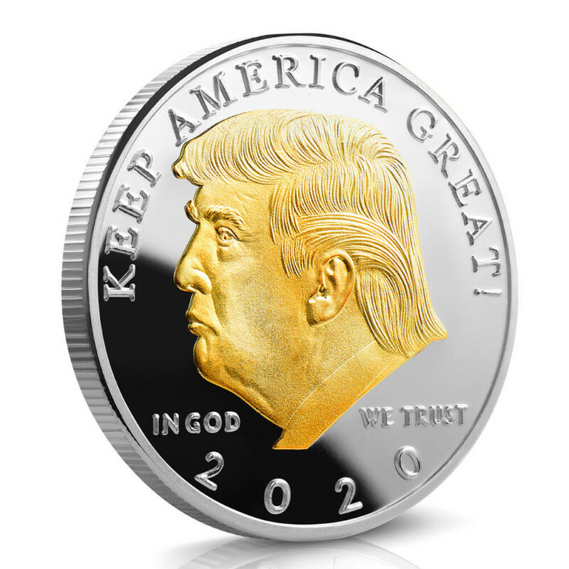 Golden President Trump Keep America Great 2020 Commemorative Gold+Silver Coin