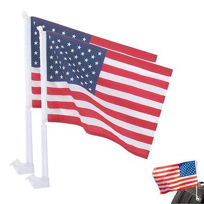"2 United States American Flag Patriotic Car Window Clip on USA Flag 20"" x 12"""