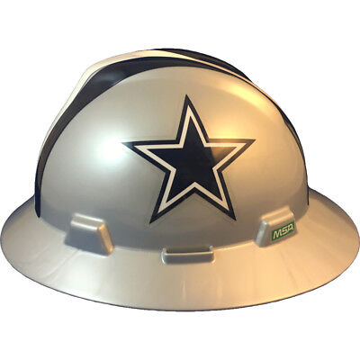 Msa V-gard Full Brim Dallas Cowboys Nfl Hard Hat Type 3 Ratchet Suspension