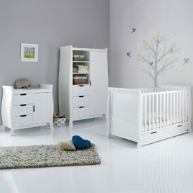 OBABY STAMFORD SLEIGH (FORMLY LINCOLN) 3 PCE SET COTBED WARDROBE CHANGER - WHITE