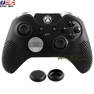 Black Game Rubber Gel Cover Sleeve Skin Thumb Grip for Xbox One Elite Controller