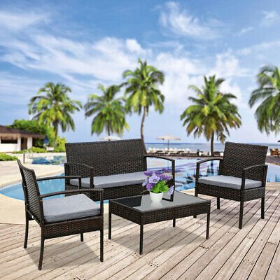 Garden Furniture - 4PC In/Outdoor Patio Lawn Sofa Set Rattan Wicker Furniture Table Cushion Garden