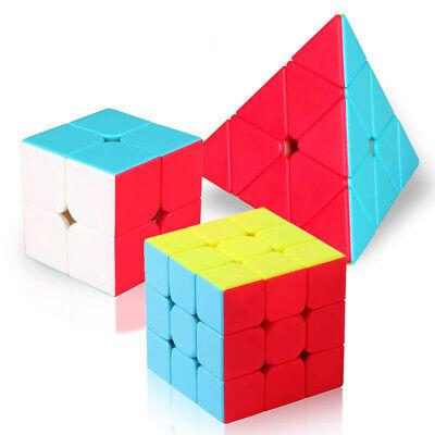 3 Pack Rubiks Rubix Stickerless Cube Puzzle Speed Cube Set 3x3 4x4 Pyramid Cube