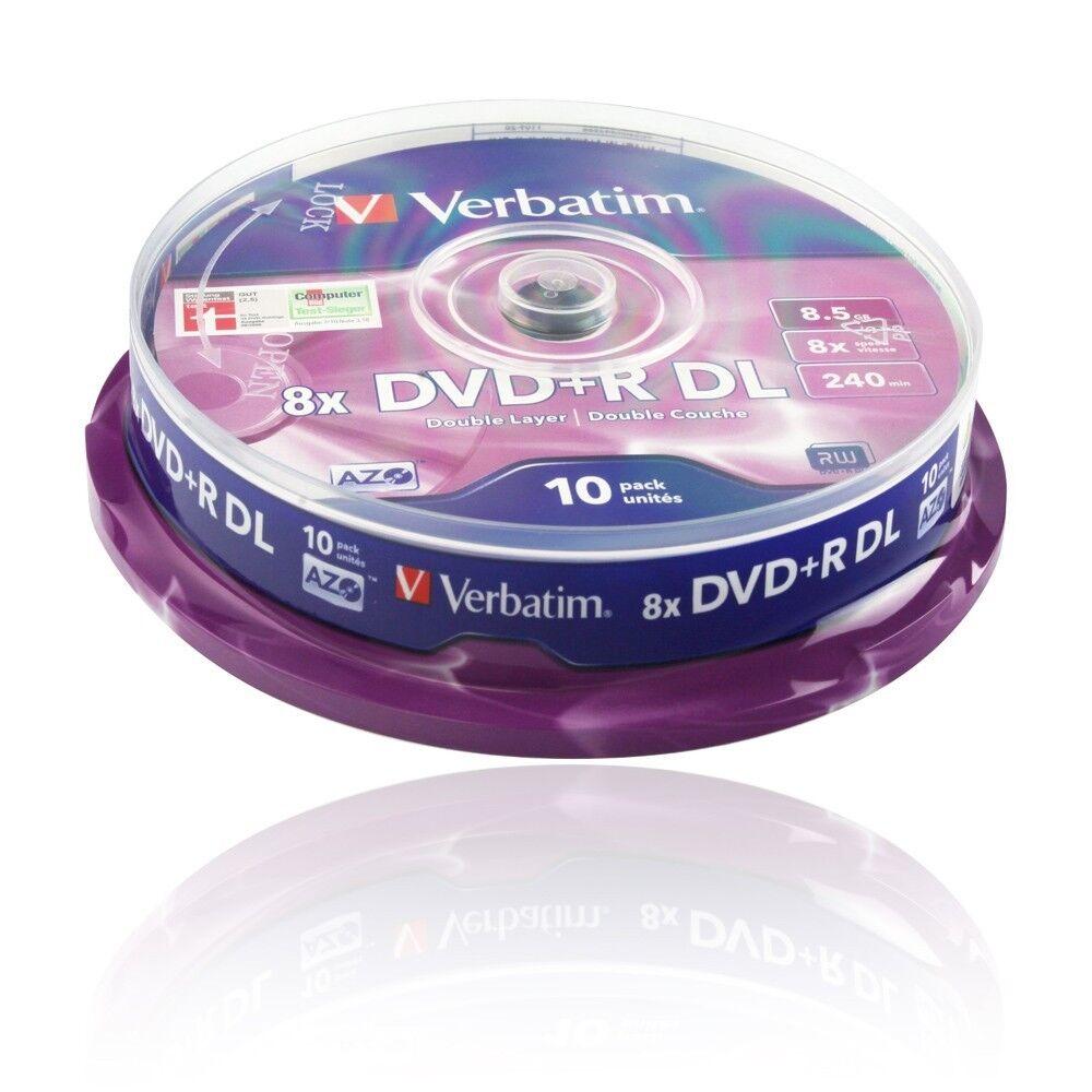 VERBATIM ROHLINGE DVD+R DL / 8.5 GB / 10er CAKEBOX SPINDEL Nr. 43666 / 8 x SPEED