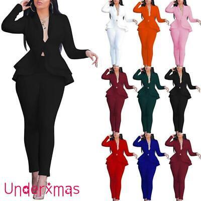 Womens Ruffle Frill Slim Blazer Jacket Tops Pants Set Ladies Office Formal Suits