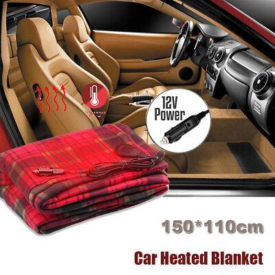 Electric 12V Heated Car Blanket Travel Rug Soft Caravan Fleece Volt Camping US