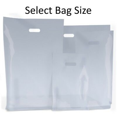 CLEAR PLASTIC BAGS / GIFT SHOP CARRIER BAG / BOUTIQUE RETAIL - SMALL & LARGE - Clear Small Gift Bags