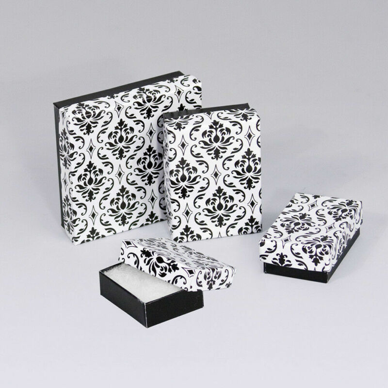 Damask Print Cotton Filled Gift Boxes Jewelry Cardboard Box Lots of 10~20~50~100