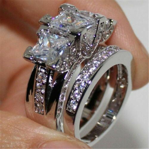 Women White Sapphire Wedding Ring Set 925 Silver Diamond Jew