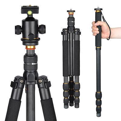 Professional Carbon Fiber Tripod Monopod w/ Ball Head For DSLR Camera Travel