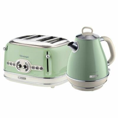 Ariete Retro Style Jug Kettle and 4 Slice Toaster Set, Vintage Design - Green