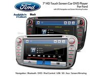 "7"" HD Bluetooth GPS SatNav Car CD Player Radio DVD USB SD Headunit With Screen Mirroring For Ford"
