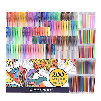 200 Pack Coloring Gel Pens Set 100 Pens+100 Refills Glitter