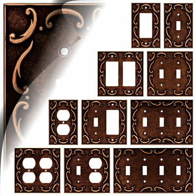 French Lace Sponged Copper Switch Plate Toggle Rocker Duplex Outlet Decora -