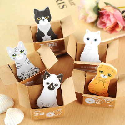 150 Sheets5 Pads Cat Sticker Bookmark Marker Memo Post Flags Sticky Notes Pads