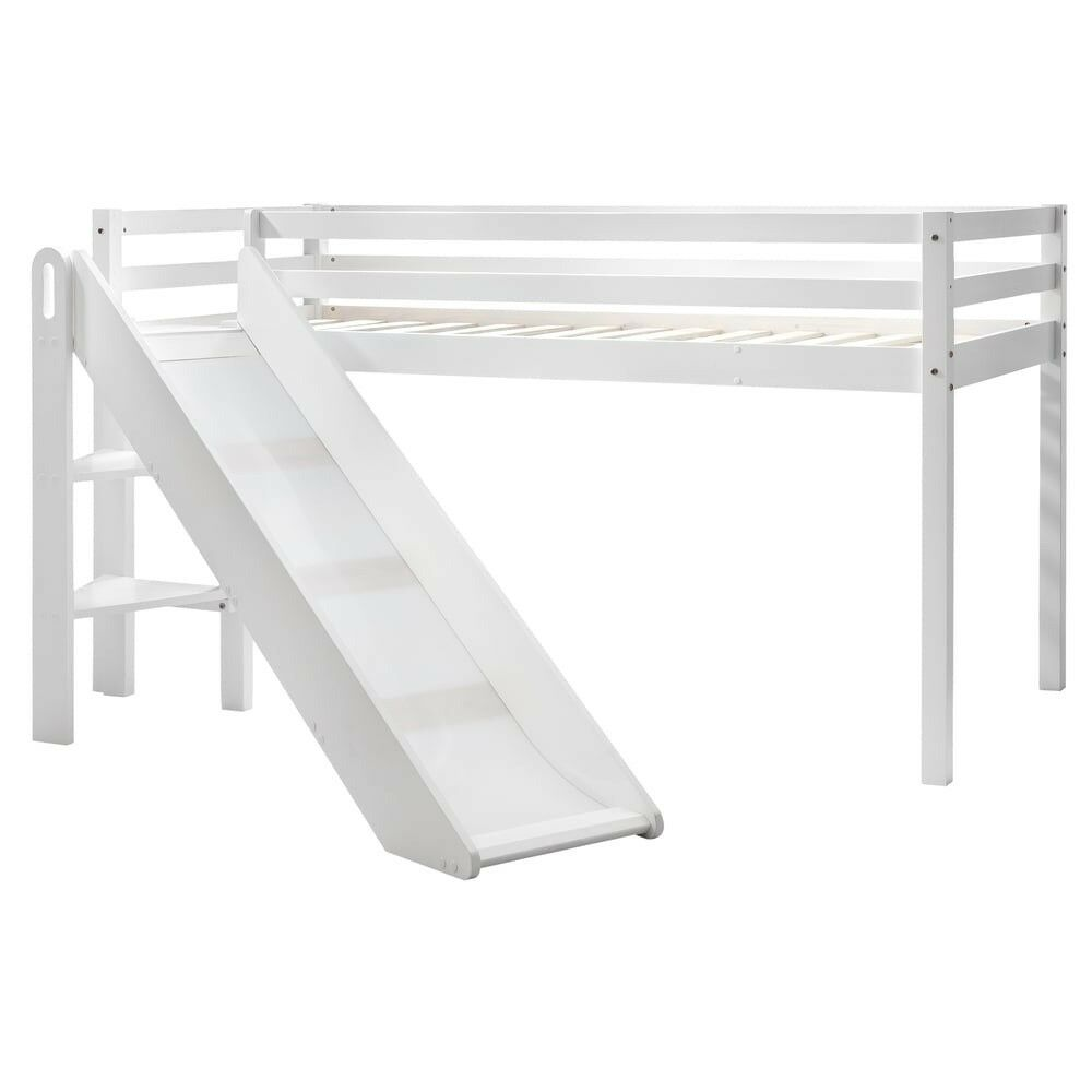White Midsleeper Cabin Bed with Space Saving Slide Noa&Nani Perfect Condition
