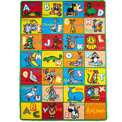 Large Classroom Rugs for Kids Alphabet Animal Playtime 3x5-5x8-8x11 New Design