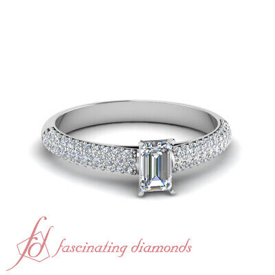 3/4 Carat Emerald Cut Diamond Affordable Engagement Ring With Round Accents GIA