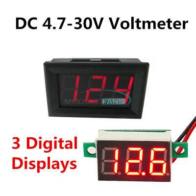 Mini Voltmeter Voltage Meter 2 Wire Dc 4.7-30v Led Panel 3 Digital Displays Volt